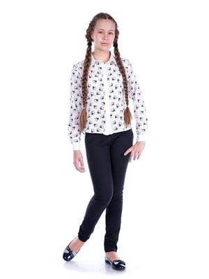 Блуза белая с принтом   5472362