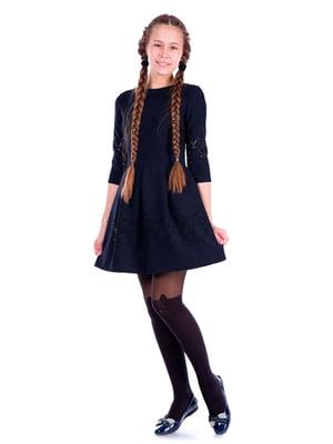 Платье темно-синее с декором | 5472375