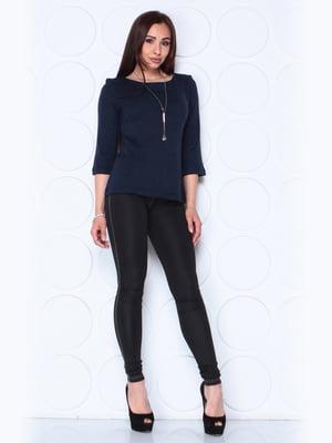 Блуза темно-синего цвета с рукавом 3/4 | 5436542