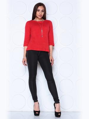 Блуза красного цвета с рукавом 3/4 | 5436543