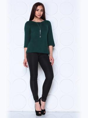 Блуза темно-изумрудного цвета с рукавом 3/4 | 5436546