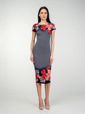 Сукня червоно-чорна в квітковий принт | 5473351