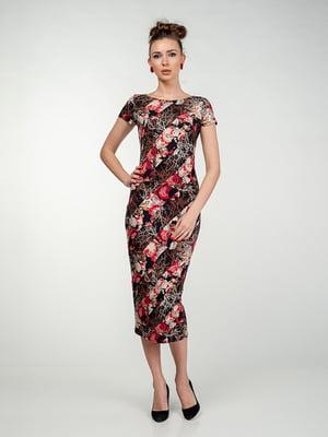 Платье черно-малинового цвета в цветочный принт | 5473356