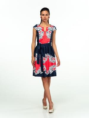 Платье сине-красное в принт | 5473359