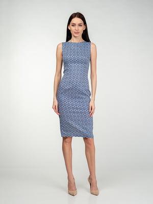 Платье сине-голубое в узор | 5473361