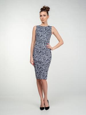 Платье синее в узор   5473363
