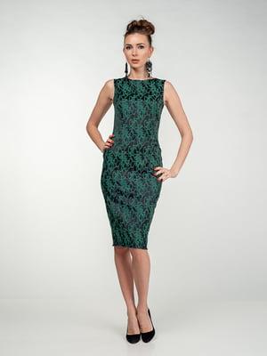 Сукня чорно-зелена у візерунок | 5473364