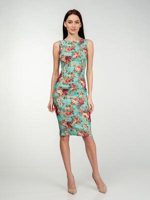Платье бирюзово-кораллового цвета в цветочный принт | 5473368