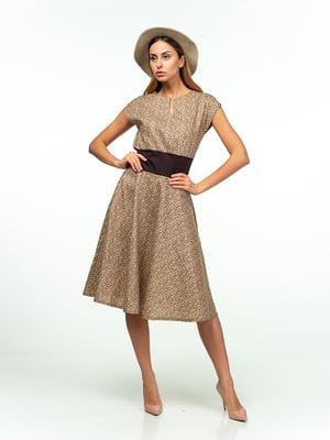 Платье коричнево-бежевое в цветочный принт | 5473370