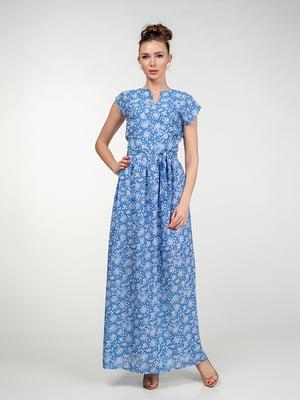 Сукня блакитна в квітковий принт | 5473372
