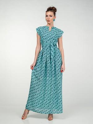 Сукня м'ятного кольору в квітковий принт | 5473373