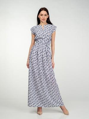 Сукня біло-синя в квітковий принт | 5473374