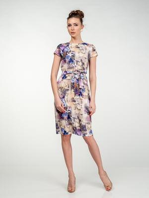 Платье фиолетово-бежевое в цветочный принт | 5473378