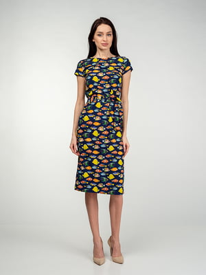 Платье синее в принт | 5473381