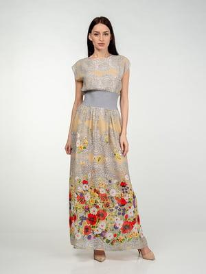 Платье серо-бежевое в цветочный принт | 5473383