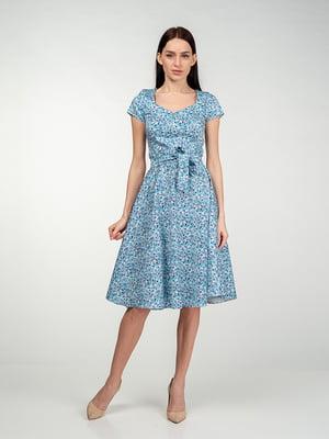 Платье голубое в цветочный принт | 5473386