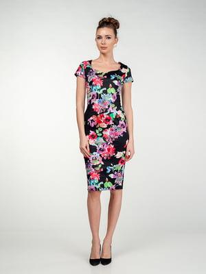 Сукня чорна в квітковий принт | 5473390