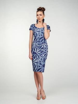Платье синее в цветочный принт | 5473391