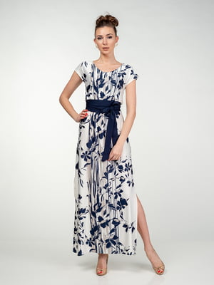 Сукня біло-синя в квітковий принт - AERIN - 5473416