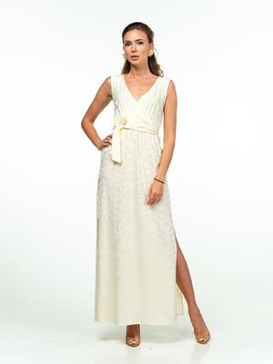 Сукня ванільного кольору в принт | 5473420