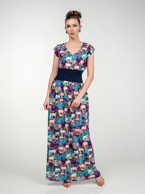 Сукня синьо-фіолетова в принт | 5473425