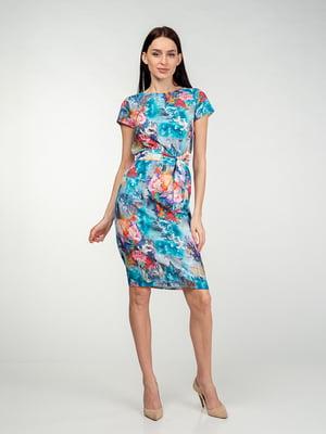 Платье бирюзово-розовое в цветочный принт | 5473427
