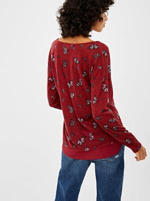Пуловер красный в принт | 5474440