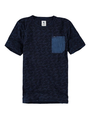 Футболка синя в принт | 5474988