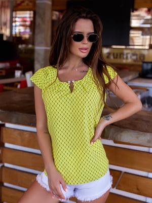 Блуза жовта в візерунок | 5475162