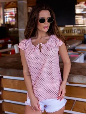 Блуза кольору пудри в візерунок | 5475164