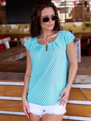 Блуза бірюзова в візерунок | 5475165