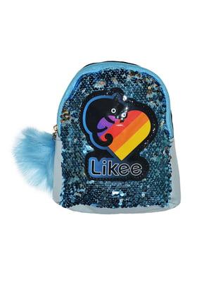Рюкзак блакитний з декором | 5475272