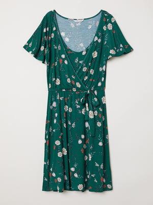 Платье для кормящих зеленое в цветочный принт   5475358