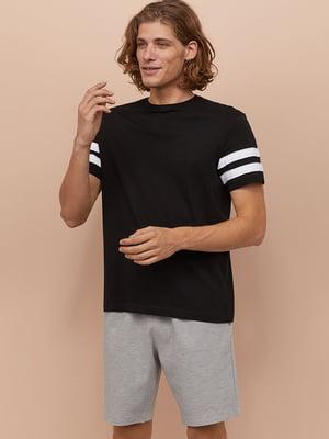 Футболка пижамная черная в белую полоску | 5475370