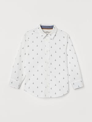 Рубашка белая в принт | 5475602