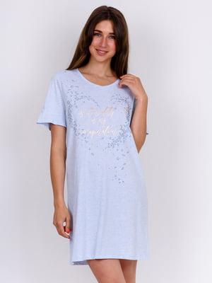 Сорочка нічна блакитна з принтом | 5475679