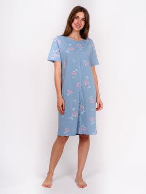 Сорочка нічна блакитна в квітковий принт | 5475683