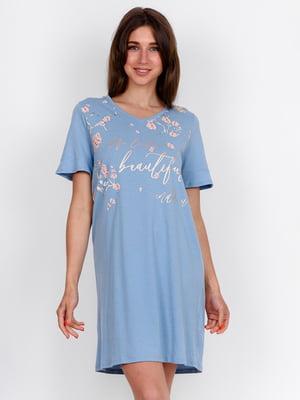 Сорочка нічна блакитна з принтом | 5475684