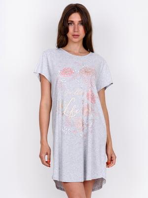 Сорочка нічна сіра з принтом | 5475691