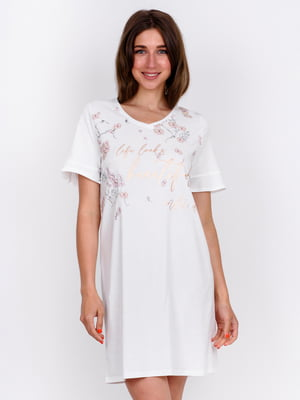 Сорочка нічна біла з принтом | 5475699