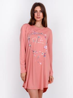 Сорочка нічна коралового кольору з принтом | 5475728