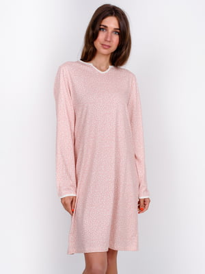 Сорочка нічна пудрового кольору в принт | 5475730