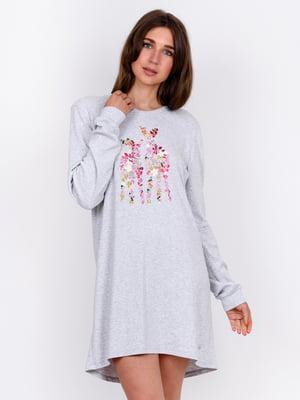 Сорочка нічна сіра з принтом | 5475737