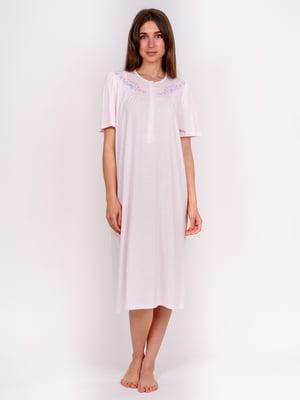 Сорочка нічна рожева з принтом | 5475650