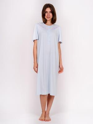 Сорочка нічна блакитна з принтом | 5475651