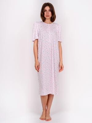 Сорочка нічна рожева в принт | 5475652