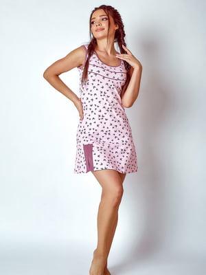 Рубашка розовая в принт | 5475900