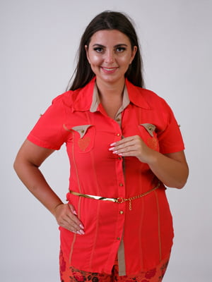Рубашка коралловая с декором | 5474558