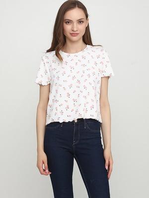 Блуза белая с цветочным принтом | 5476747