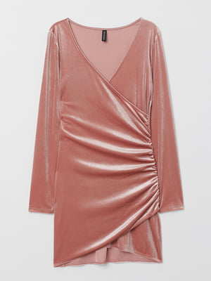 Платье цвета пудры велюровое | 5476761